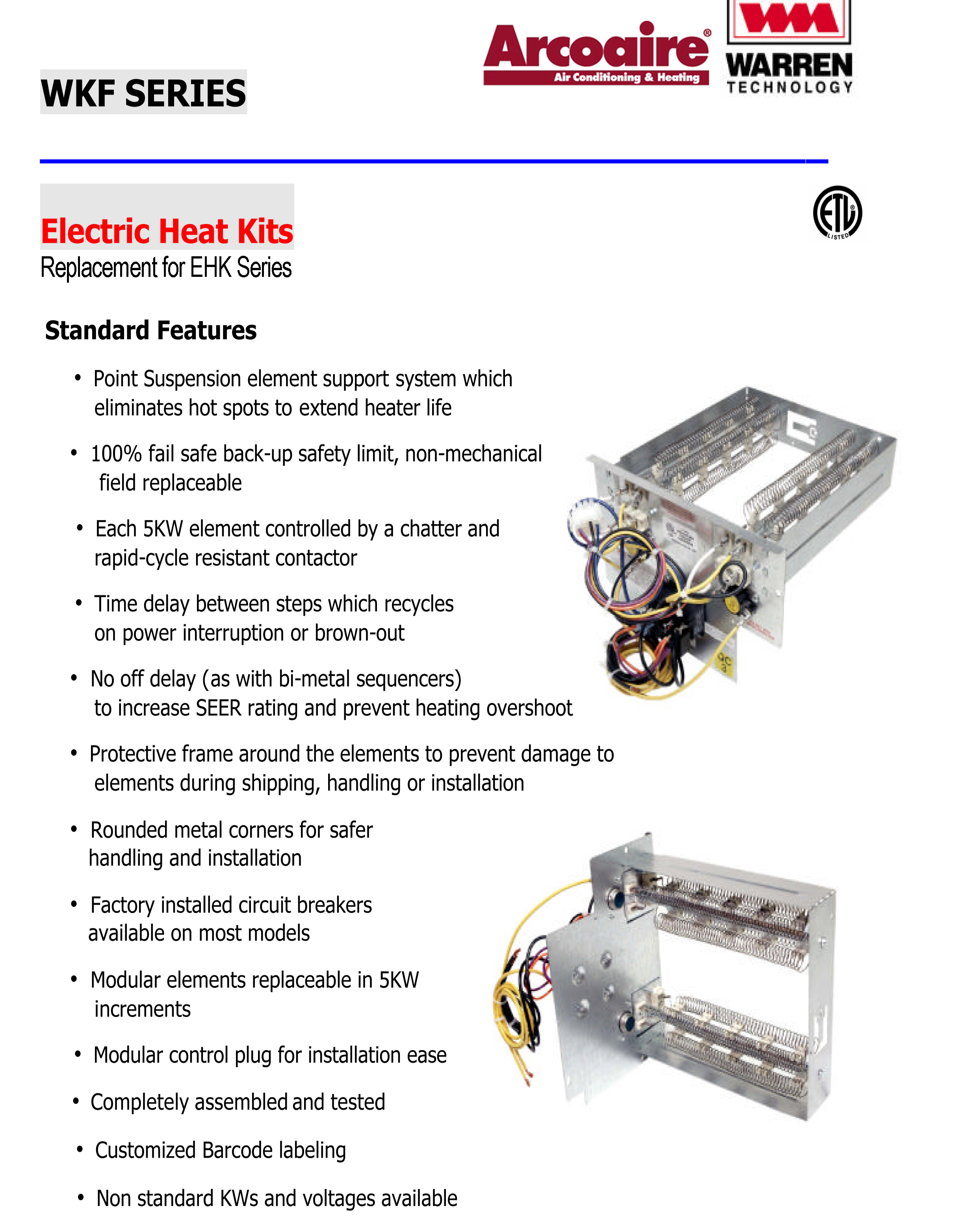 10 KW heat strip for Arcoaire air handlers EB(P/X/V), WA